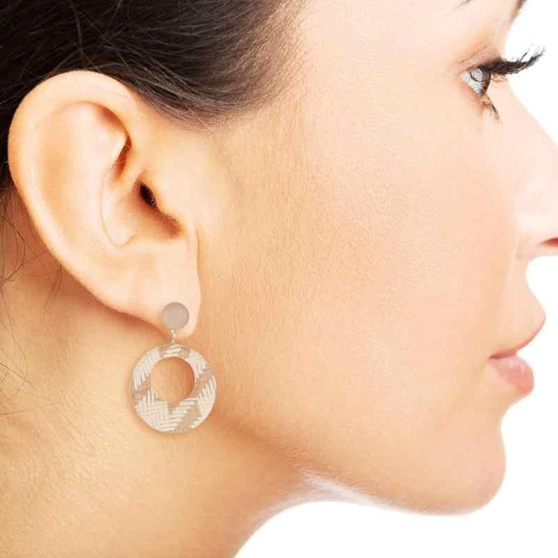 Vintage สาน Dangle ต่างหูหญิงสาวกลวงรอบวงกลมโรแมนติก Ear Drop ของขวัญเครื่องประดับสำหรับคนรักวันเกิด