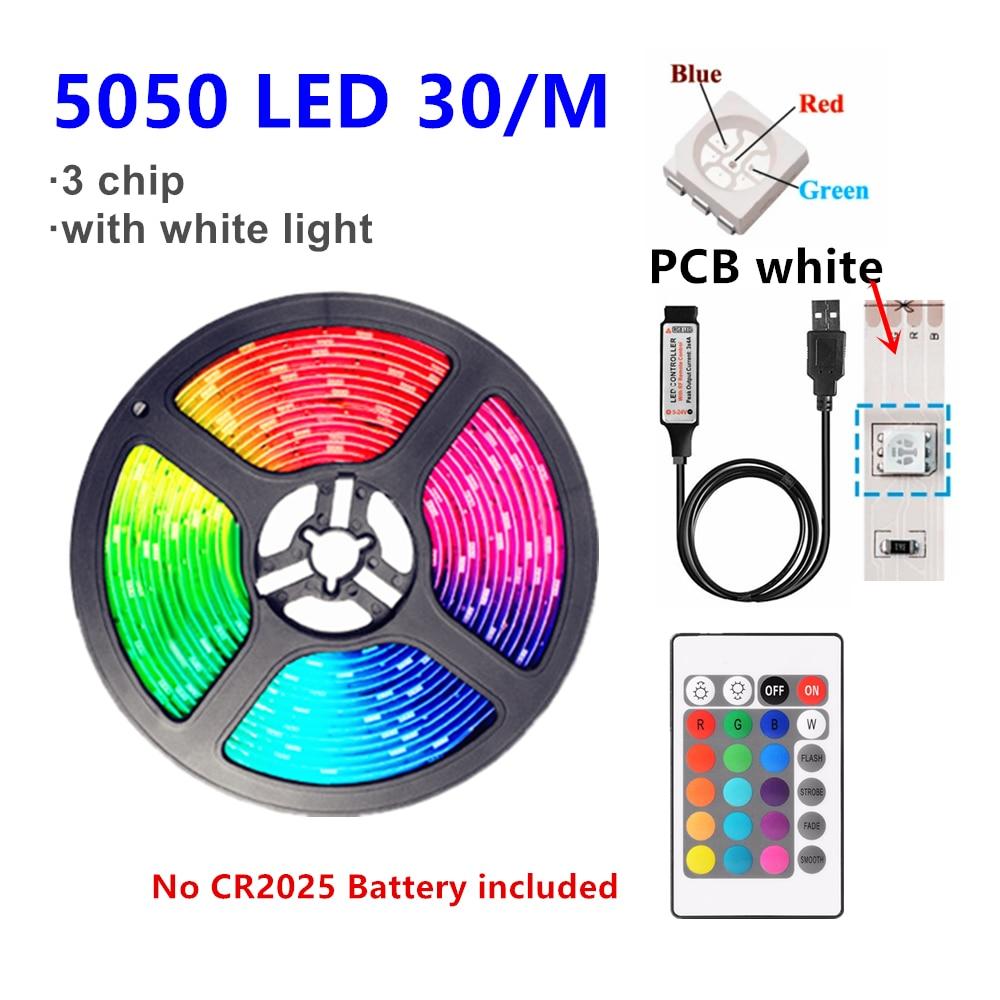 Tira de luces LED RGB, 5v, USB 2835/5050, RGBW, ambiental, Flexible, para decoración de habitación, TV, festón
