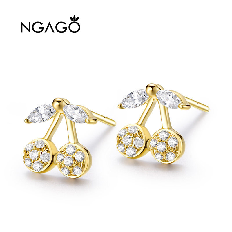 NGAGO18K Gold Cherry Ear Stud Inlaid Zircon AU750 Factory Direct Selling Quality Assurance Collocation Certificate