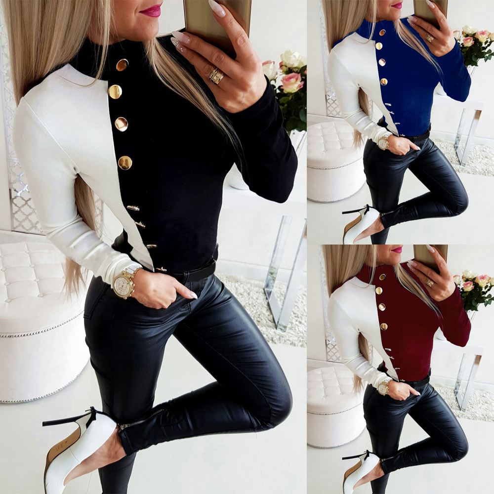 2019 Fall Tops Long Sleeve Sexy Tops And Shirt Casual Turtleneck Button Balck White Patchwork SkInny Long Sleeve Women Blouse