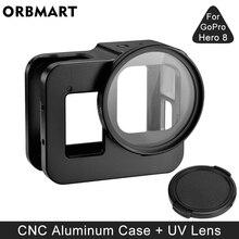 GoPro Hero 8 용 알루미늄 합금 보호 케이스 Go Pro 8 카메라 액세서리 용 블랙 메탈 케이스 프레임 케이지 + UV 렌즈 필터