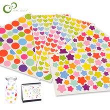 6 folhas bonito colorido adesivos diy decalques adesivo para notebook álbuns scrapbook decorativo portátil clássico brinquedos para crianças gyh