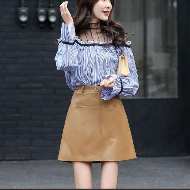 2020 New Womens Genuine Leather Skirt  A Line Belted Office Lady Mini Saia High Waist Elegant Work Army Green Khaki Faldas Mujer