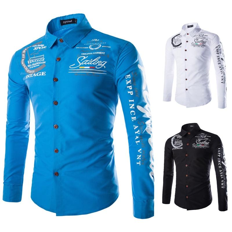 2019 New Autumn Men Shirts Casual Slim Fit Streetwear Letter Printed Blouse Black Lapel Button Up Dress Shirt Long Sleeve Tops