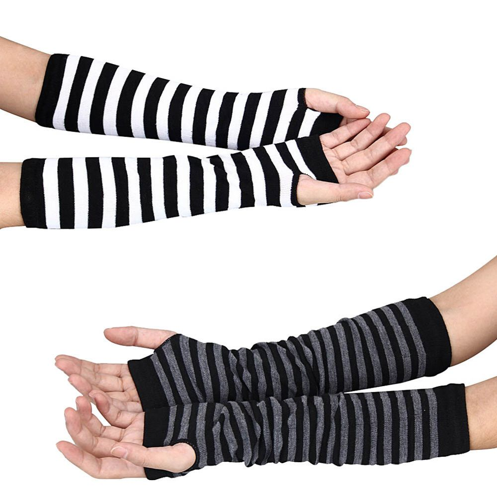 1 Pair Fashion Winter Arm Warmers Women Warm Mittens Fingerless Black&grey Black&White Knitted Long Gloves Cotton Length: 35 Cm