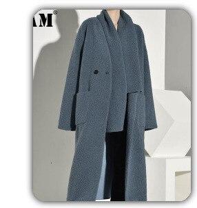 [EAM] черная Асимметричная плиссированная юбка средней длины с высокой талией и разрезом, женская модная одежда, Новинка весна-осень, 1H409