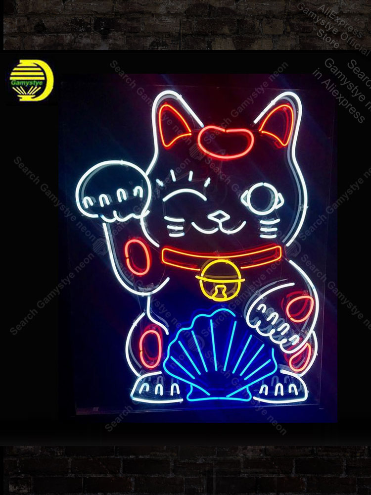 Chinese Lucky Cat Neon Sign Las vegas Bulb Handcrafted Recreation Room coors light neon sign Neon Teaches Pacma Neon Sign Car image