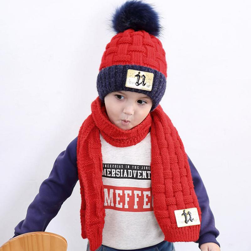 Doitbest 4 To 10 Years Old Kids Beanie Sets Fur Inside Labeling 2 Pcs Boys Girls Winter Knit Hat Scarf Set