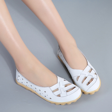 Large Size Genuine Leather Women Shoes  Hollow Non-slip Cave Nurse Flat White Casual Soft Outdoor
