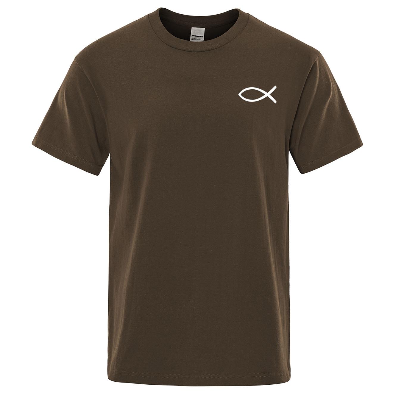 2019 Summer New T Shirt Mens Brand Tees Boys Male T-Shirt Short Sleeve Tops Christian JESUS Fish High Quality Cotton Men Tshirt
