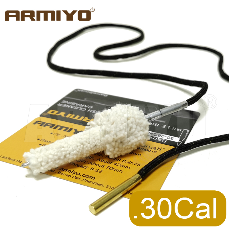 Armiyo .308Cal Gun Cleaning Swabs Chamber Cotton Brush Rifle Barrel Mop Brush Cleaner Fit AK Hunting Accessories Thread 8-32