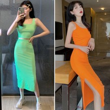 2019 New Woman Fashion Dress 2 Pieces Set Pullover O-Neck Sleeveless Tank Crop Top Slim Fit Skirt Solid Color Casual Girls Sets клаксон richtoys cb 3054 осьминог фиолетовый