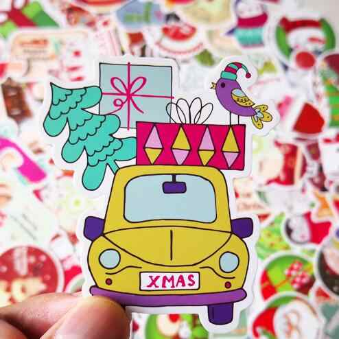 100 יח'\חבילה עמיד למים Kawaii חג המולד מדבקות חמוד דקורטיבי DIY קרפט רעיונות חג המולד מדבקת ילדים מתנה