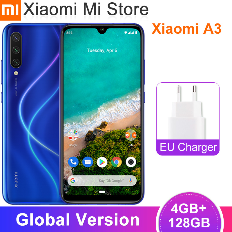 "In Stock Global Version Xiaomi Mi A3 MiA3 4GB 64GB Mobile Phone Snapdragon 665 Octa Core 6.088"" 48MP + 32MP AI Camera 4030mAh"