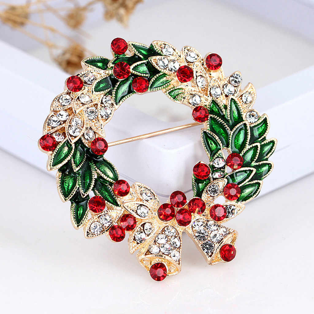 Fashion Hot Sale Creative Christmas Gifts Santa Claus Christmas Trees Socks Hat Sock Rhinestone Brooches For Women Gift
