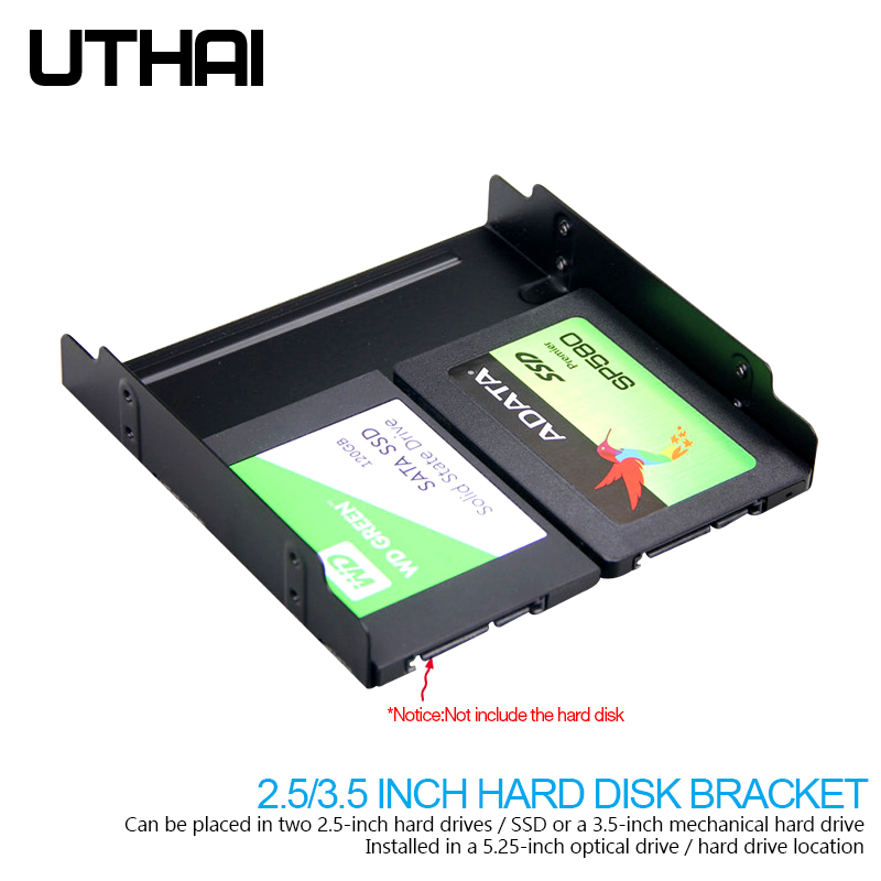 UTHAI G17 <font><b>2.5</b></font>/3.5 inch HDD SSD to <font><b>5.25</b></font> inch Floppy-Drive SSD Hard Drive Bracket Metal Hard Disk Converter <font><b>Adapter</b></font> Caddy image