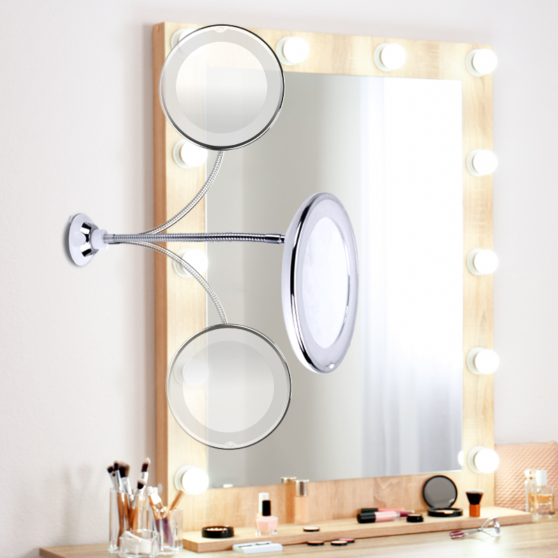 LED Mirror Light Makeup Mirror with Led Light Flexible 10X Magnifying Mirrors Light Cosmetic Miroir Dropshipping Vanity Mirrors 5