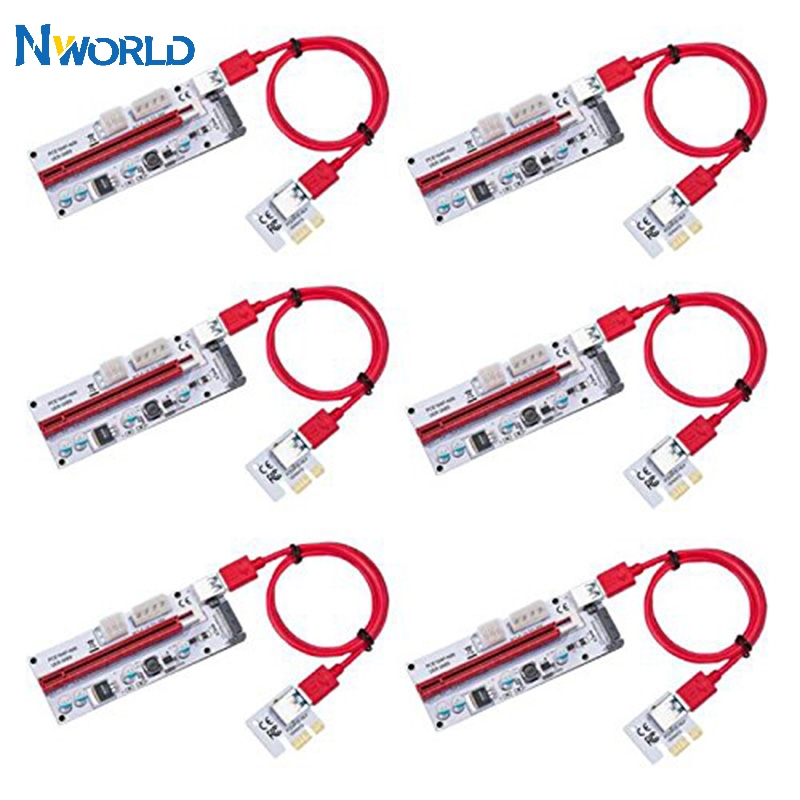 Hot Selling 6PCS 008S 3 In 1 PCIe PCI-E PCI Express Riser Card 1x To 16x USB 3.0 Data Cable For Bitcoin Mining BTC Graphics Card-0