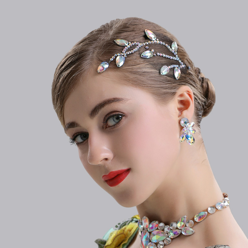 H2604 Women Hair Jewelry Professional Performance Dance Headdress Female Latin Dance Competition Headwear Diamond Accessories(China)