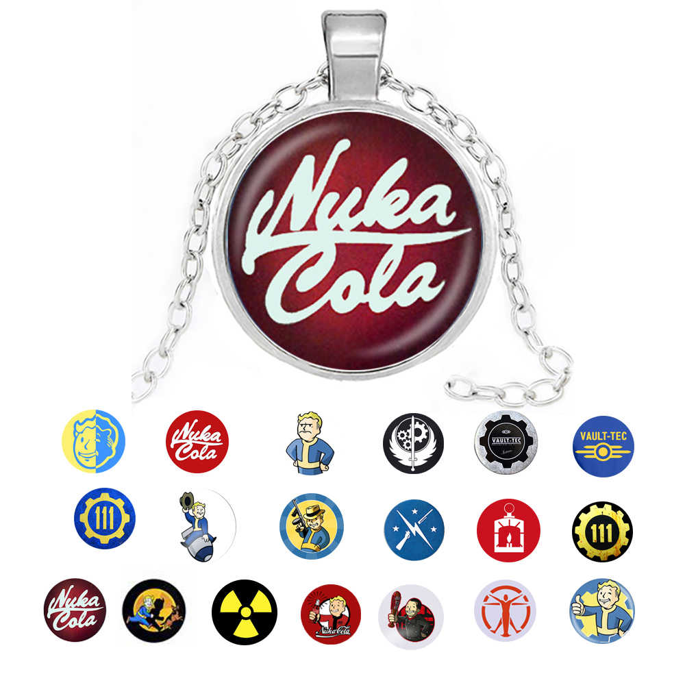 Nowy Fallout Nuka Cola naszyjnik brelok llavero szkło i stop mężczyźni kobiety naszyjnik brelok wisiorek biżuteria