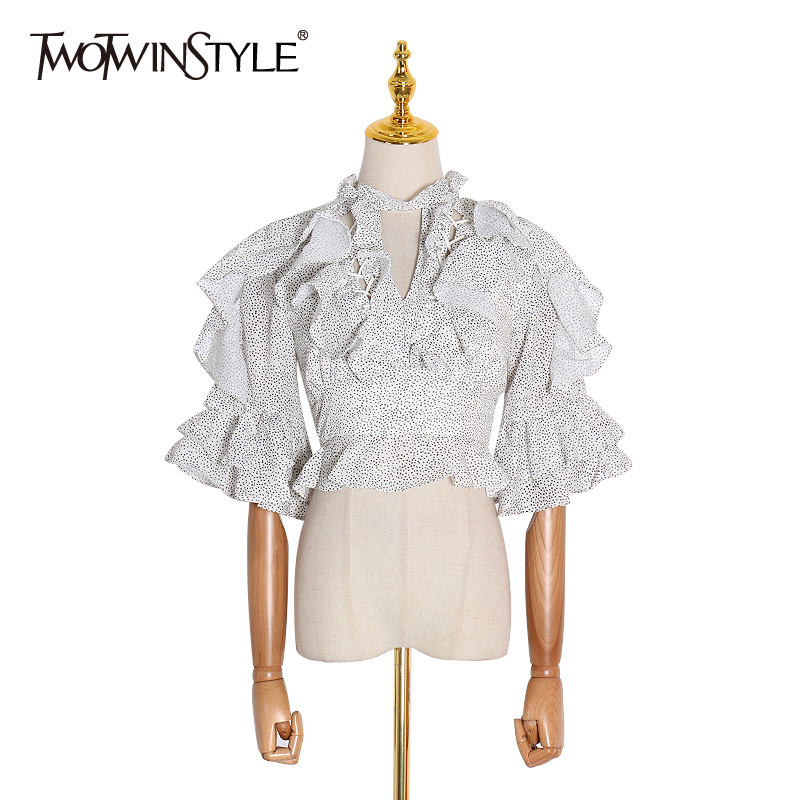 TWOTWINSTYLE Elegant Ruffle Wave Point Hollow Out Women's Blouse O Neck Half Sleeve Backless Korean Blouses Female 2020 Fashion