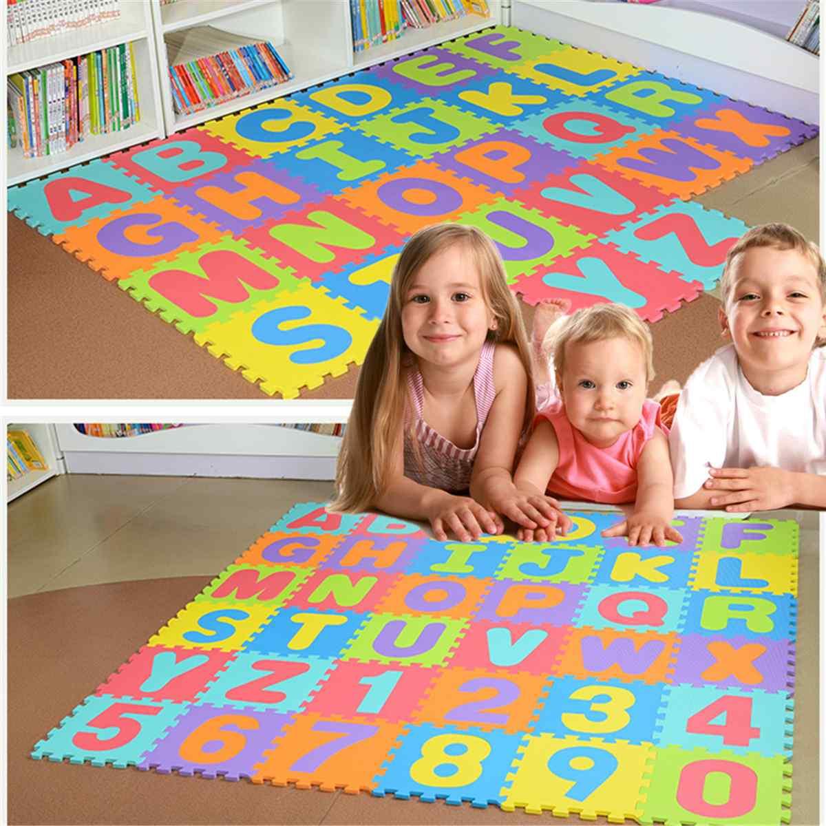 36 pièces Puzzle tapis pour enfants épaissi Tapete bébé tapis de jeu infantile bébé chambre lettre ramper tapis pliant tapis bébé