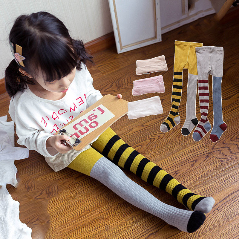 Baby Pantyhose Kids Girl Cotton Tights Cute Spring Autumn Children Stockings Toddler Tights Baby Striped Tights Girls Winter