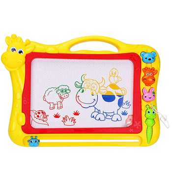Magnetic Drawing Board,Drawing Area Colorful Magna Drawing Doodle Board,With 3x Stamps, 1x Magnetic Pen,Yellow - DISCOUNT ITEM  42% OFF All Category