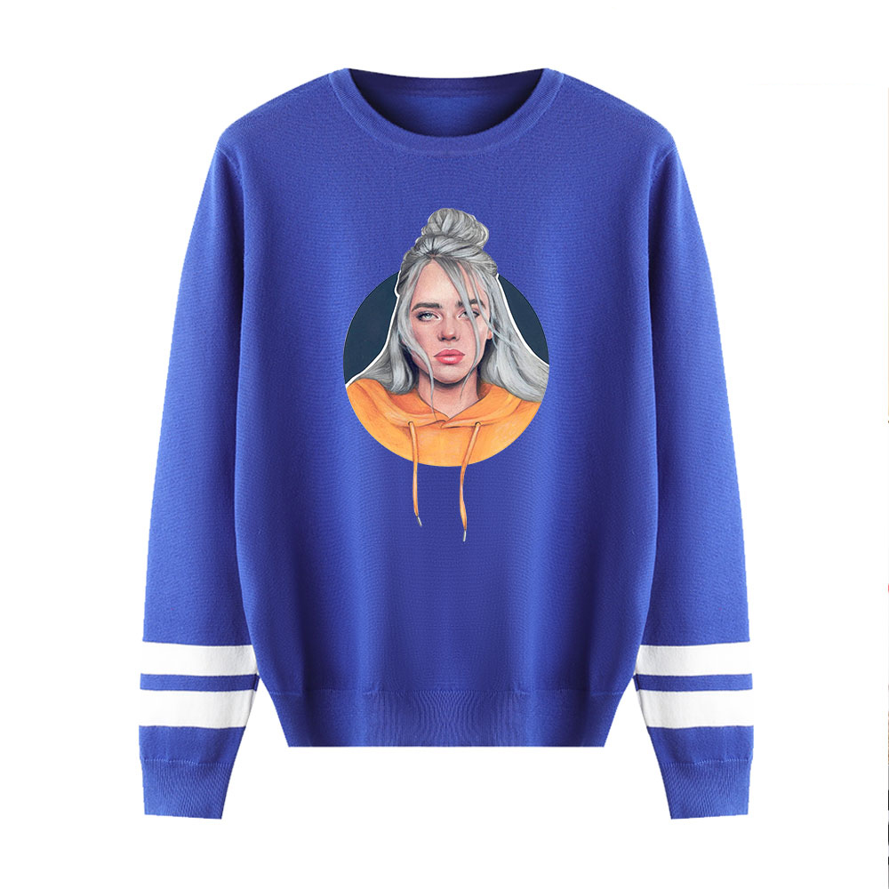 Knitting Sweaters Billie Eilish Printing Sweaters Men Women Casual Sweater Fall/Winter Warm Pullovers Streetwear Fashion Sweater
