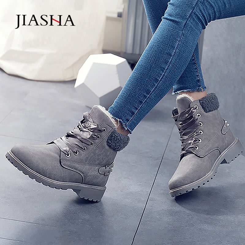 Winter shoes women boots 2020 fashion warm plush ankle boots women shoes round toe lace up female snow boots brand shoes woman snow boots boots fashionfashion boots - AliExpress