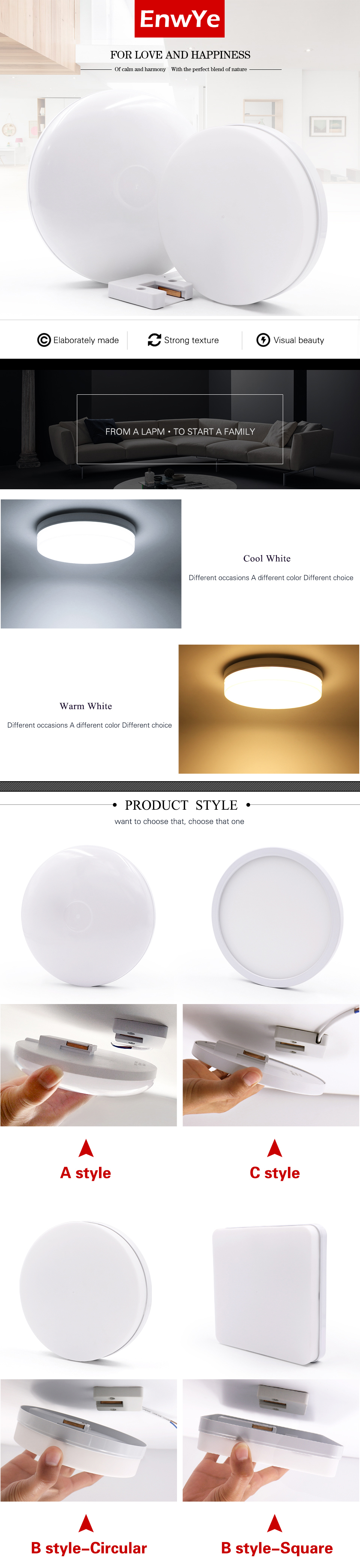 H380cae94f1c24c289a8d406f3f3f5dc0R EnwYe 6W 9W 13W 18W 24W 36W 48W LED Circular Panel Light Surface Mounted led ceiling light AC 85-265V lampada led lamp