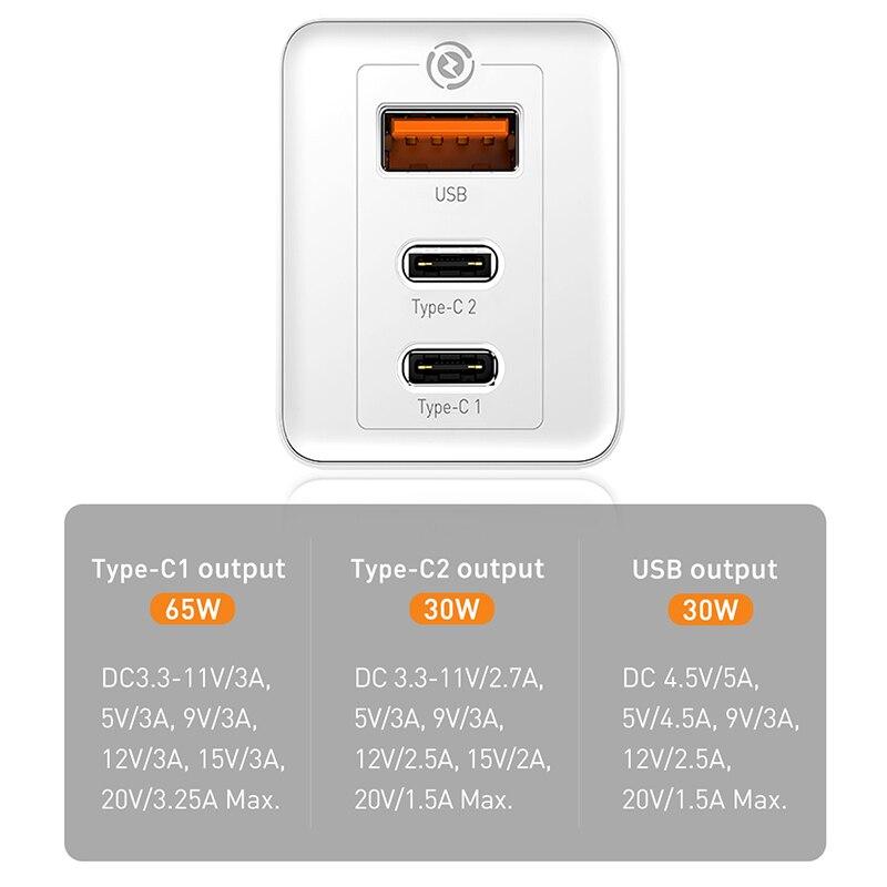 Cargador rápido Baseus GaN de 65W con enchufe estadounidense, Cargador USB PD, soporte de carga rápida 4,0, supercarga SCP para iPhone 11 Pro XR Xiaomi HUAWEI - 4