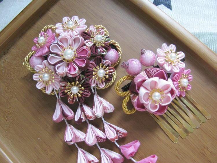 Красивый цветок головной убор цветок из текстиля головной убор сакуры кимоно шпилька классические кисточки юката головной убор синий и розовый - 3