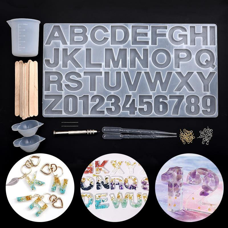 Alphabet 26 Letters With Nomber Silicone Mold UV Resin Molds Jewelry Earring Necklace Making Tools Set DIY Handmade Accessories