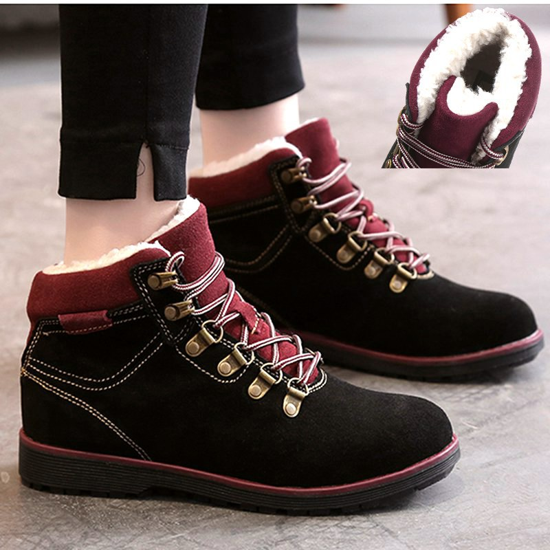Krasovki Boots Women Fashion Round Toe Dropshipping Winter Plush Flock Flat Bottom Cross Tied Lace Leisure Women Ankle Boots in Ankle Boots from Shoes
