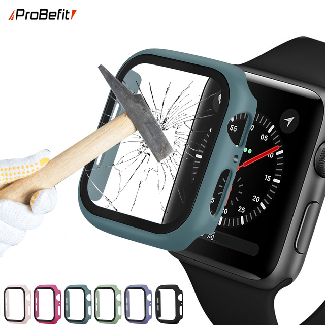 360 full Screen protector Bumper Frame matte hard Case for Apple watch 5/4/3/2/1 cover Tempered glass film for iwatch 4/5 1