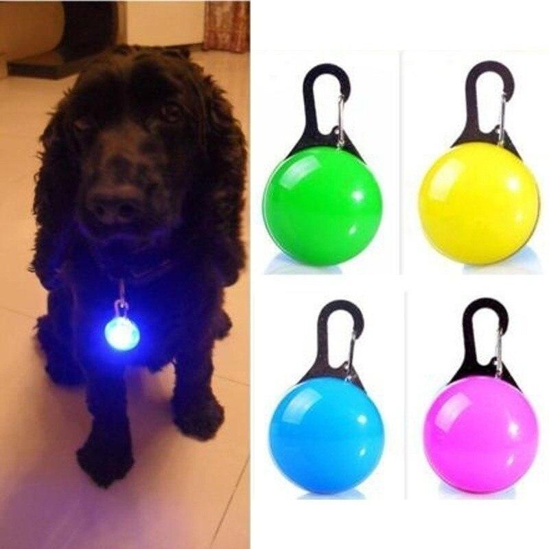LED Pet Collar Pendant Pet Dog Cat Puppy Safety Luminous Flashing Collar Pendant Push Button Switch Pendants for Night Walking