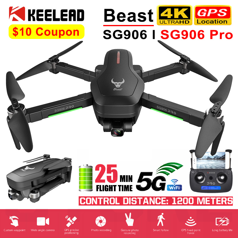 SG906 Pro GPS Drone with 4K 5G WIFI 2-axis gimbal Dual camera professional ESC 50X Zoom Brushless Quadcopter RC Dron Vs F11 K1(China)