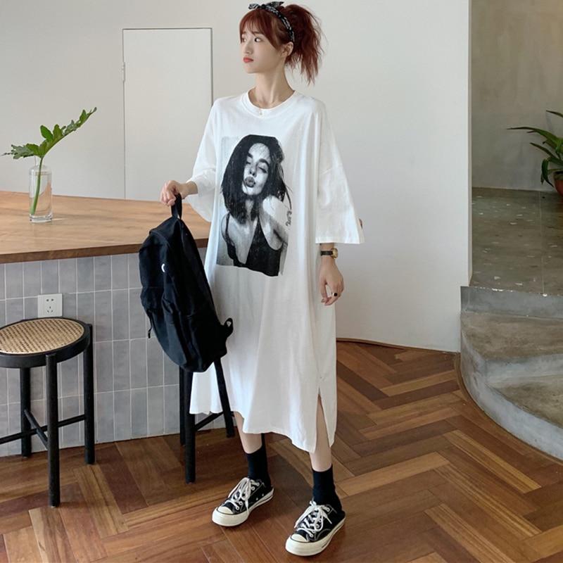 #4237 Black White Grey Plus Size T Shirt Dress Printed Midi Dress Cotton Harajuku Side Split Short Sleeve Woman Dress Oversized