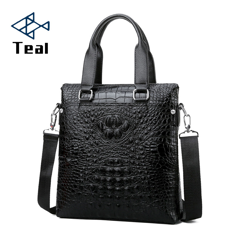 Men's Bag Briefcase Vertical Section Business Casual Crocodile Pattern Drop-shipping Men's Shoulder Messenger Bag