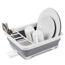 Składany stojak na naczynia kosze do przechowywania w kuchni Organizer miska do ociekania naczynia półkowe spinacze do prania przybory kuchenne tanie tanio CN (pochodzenie) Silicone +PP Eco-Friendly Stocked Foldable Rack Bowls Rack Drainer