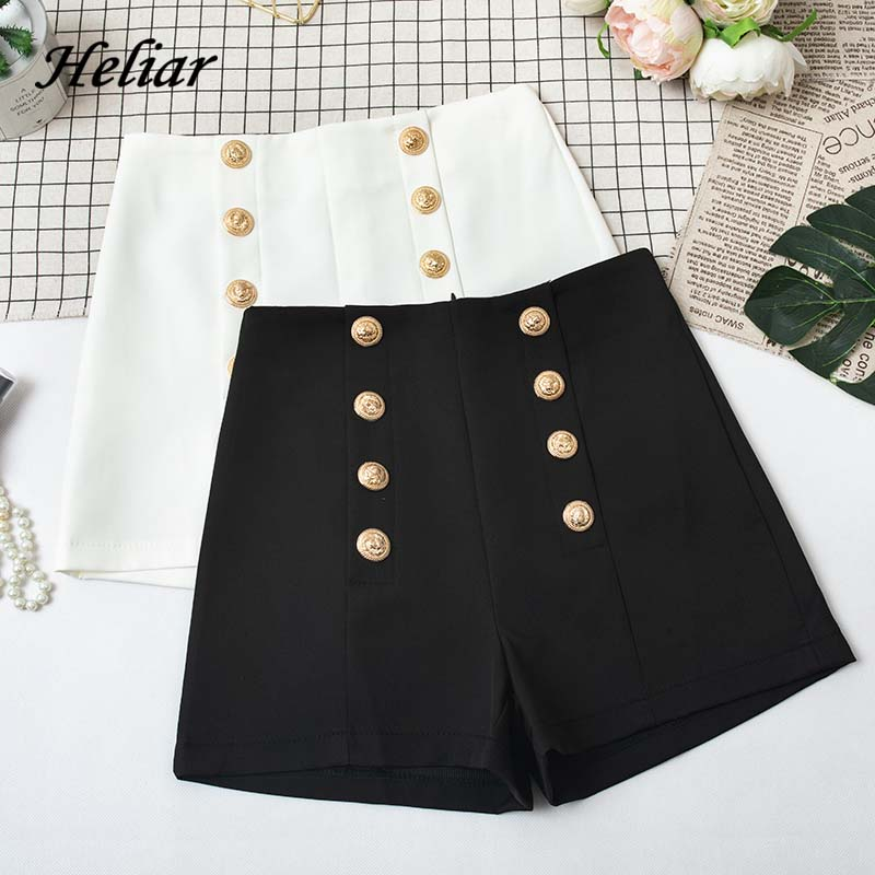 HELIAR 2019 Fall Women High Waist Buttons Formal Suit Shorts Wide Leg Outwear Shorts 2019 Autumn INS Hot Highstreet Shorts Women