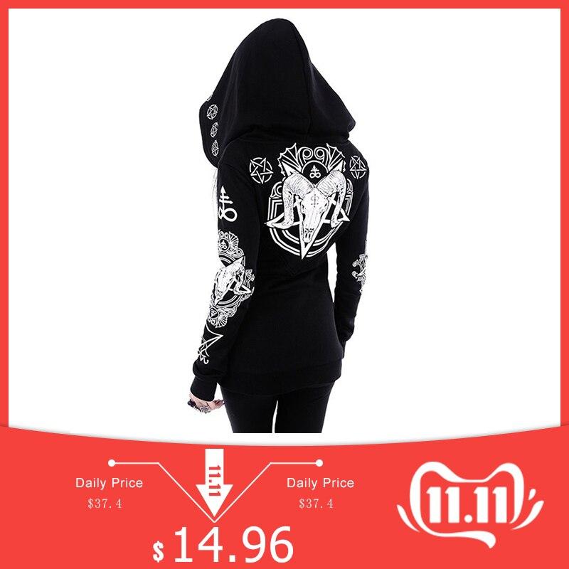 Rosetic Black Hoodie Sweatshirt Women Plus Size Coat Punk Gothic Print Hooded Hipster Streetwear Big Sizes 5XL Goth Dark Hoodies