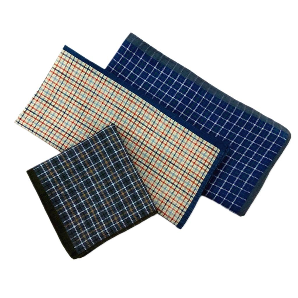 12x 100% 100% Cotton Hankerchief Scarves Classic Hanky Plaid Hankies Casual Kerchief 43cm