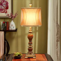 American Retro Table Lamp for Living Room Bedroom Bedside Hotel Vintage Resin LED Table Light Creative Decorative Lamps