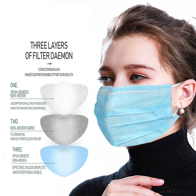 Hot Sale 3-layer Mask 100pcs Face Mouth Masks Non Woven Disposable Anti-Dust Meltblown Cloth Masks Earloops Masks Face Mask