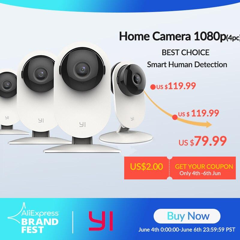 Домашняя камера YI 4 шт., 1080p Wi Fi IP, умная система видеонаблюдения с ночным видением, детский монитор на iOS, Android App Камеры видеонаблюдения      АлиЭкспресс