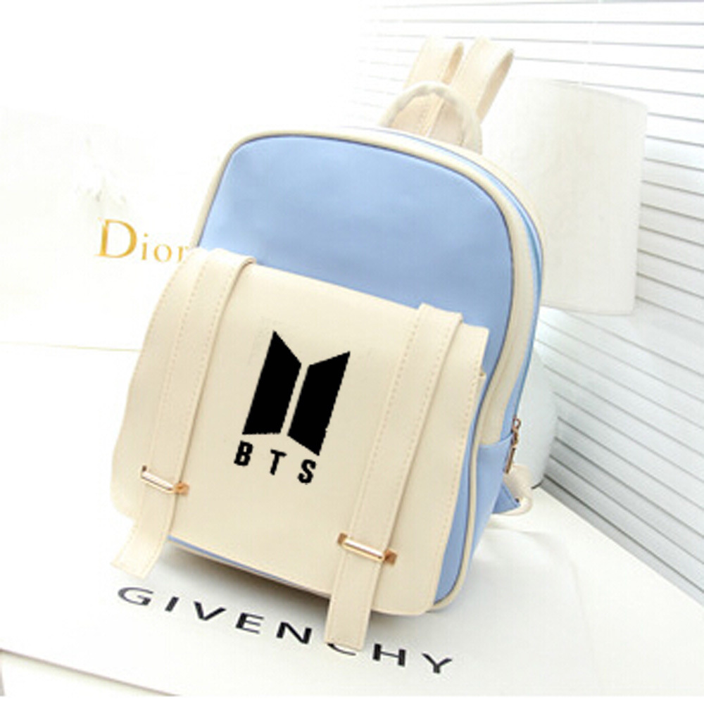 BTS Celebrity Inspired Casual Korean-style Pu Backpack Back School Bag College Style Middle School Students COUPLE'S Women's