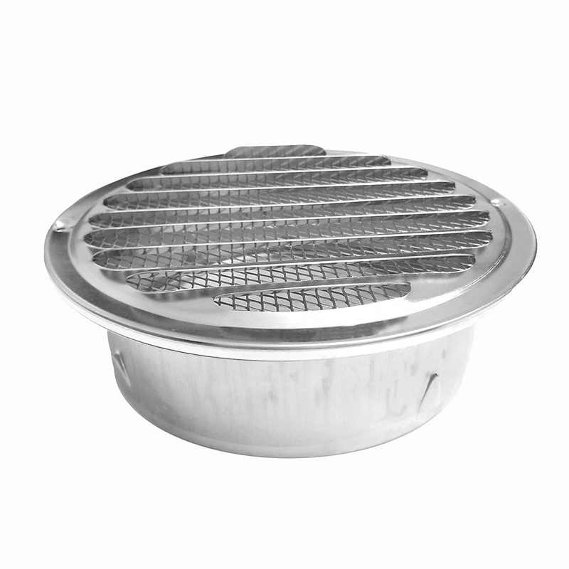 6 Inch Louvered Grille Cover Vent Hood Wall Air Vents With Built-In Fly Screen Mesh - 304 Stainless Steel Ventilation Outlet