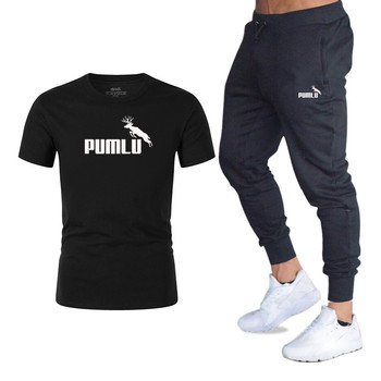 New Clothing Men's Fashion t-shirts + Sports Pants Workout Suits Tracksuit Casual Sportsuit 2020 Men Sportswear Clothes+Pant Set